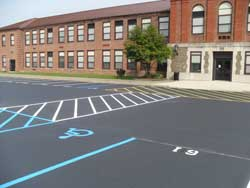 Parking lot striping and numbering detailed photo by Superior Line Striping